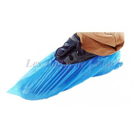 Surchaussures bleues non-tissées imperméables Lot de 100